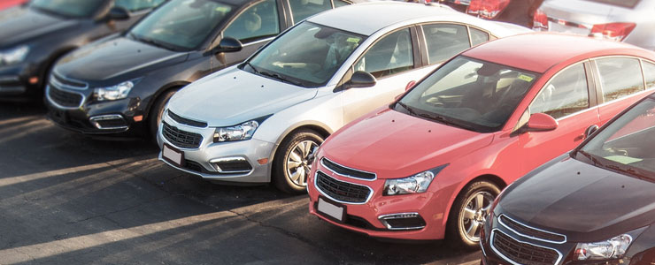 Cars in a auto dealer lot
